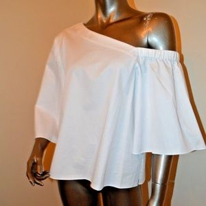 NWT Tibi White Off One Shoulder Top Size 8